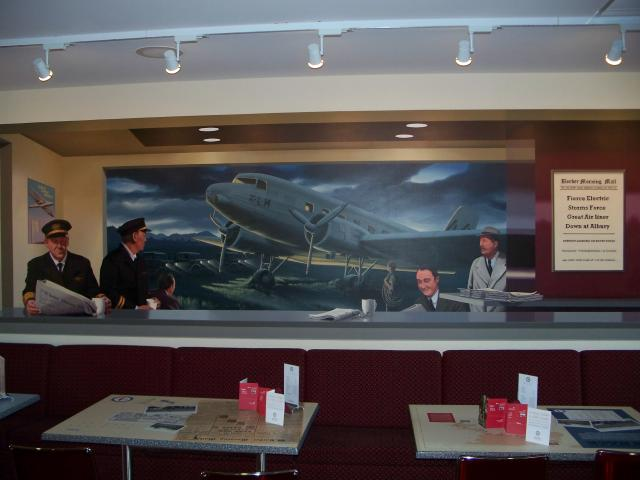 Commemorative art at the airport cafe