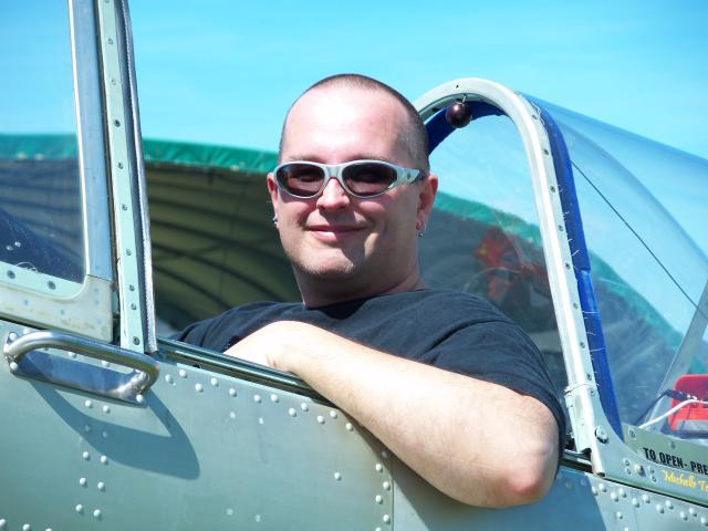 Grant in the Yak52TW cockpit