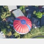 Looking down on a balloon over the burbs